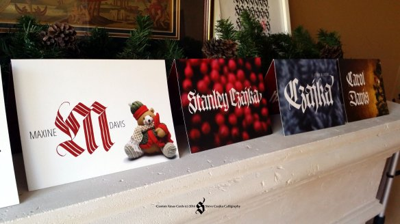 Custom Xmas Cards Fireplace Showcase CL